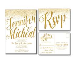 wedding invitations rsvp cards gold wedding invitation gold sparkles printable wedding