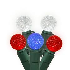 red and white bulb christmas lights 50 red white blue led lights green wire g12 berry 17ft