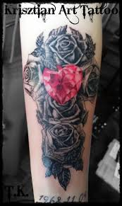 dimonds tattoo krisztian art tattoo diamond heart u0026 roses