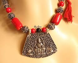 beads necklace images images Red coral beads necklace set antique silver laxmi pendant set jpg