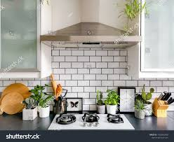 black and white kitchen framed pictures black white subway tiled kitchen numerous stock photo edit