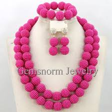 pink beads necklace images Buy fashion fushia pink african beads necklace jpg