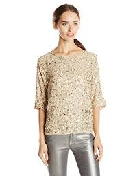 nicole miller crystal ls nicole miller women s seashell sequin top gold medium n https