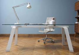 bureau verre et metal toronto bureau verre transparent 160 x 100 cm pieds métal blanc