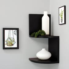 Corner Wall Bookcase Decorating Shelves Swell Square Floating Glass Corner Wall Mount