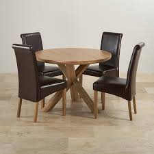 Scroll Back Leather Dining Chairs Solid Oak Dining Set 3ft 7in Table With 4 Brown