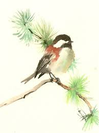 watercolor tutorial chickadee chickadee one of a kind original watercolor painting bird art sage
