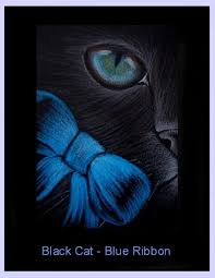 black and blue ribbon black cat blue ribbon by cyra r cancel from gallery