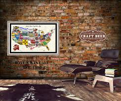 united states craft beer wall map art poster of breweries usa craft beer map websize usa craft beer map man cave walls
