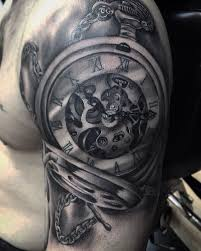 realistic pocket watch tattoo on half sleeve by roy priestley