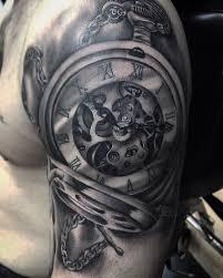 realistic pocket watch tattoo on half sleeve by roy priestley