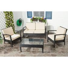 Brown Wicker Patio Furniture - safavieh piscataway charcoal 4 piece wicker patio seating set with