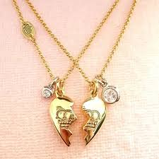 gold best friends necklace images Genuine juicy couture best friend heart necklaces gold jpg
