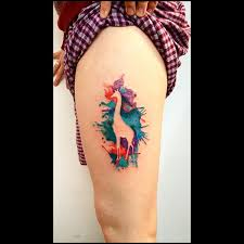 negative space watercolor giraffe tattoo inked pierced and dyed