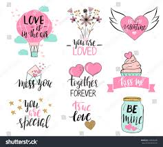set valentines day templates modern hand stock vector 534686338