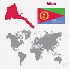A World Map Eritrea Karte Auf Einer Weltkarte Mit Flagge Und Zeiger Zuordnen