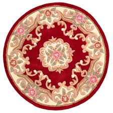 120cm round wool chinese handcrafted aubusson rugs in red