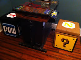 custom nintendo cocktail arcade stools pow and question block