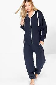 womens hooded zip navy onsie warm and cozy plush onesie