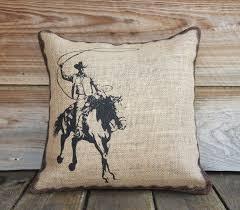 burlap pillow of cowboy cushion throw pillow western burlap