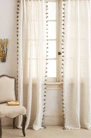 White Curtains With Pom Poms Decorating Pom Pom White Curtains Thin Cotton Ticking Stripe With Poms For A
