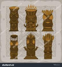 polynesian wood carving wood polynesian tiki idols gods statue stock vector 664007392