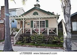 Beach House Usa - stock photograph of front exterior of middle class beach house