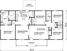 4 bedroom house plan ranch house floor plans 4 bedroom this simple no watered