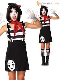 Halloween Circus Costumes Girls Kids Mime Artist Costume Black White Halloween Circus French