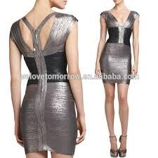 oem bandage dresses two tone metallic bandage bodycon dresses