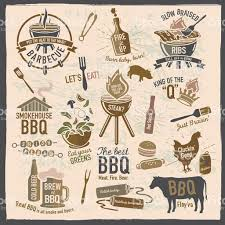 themed sayings set of bbq themed icons labels with phrases or sayings stock