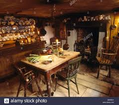 old fashioned kitchen old pine table and dresser in old fashioned kitchen dining room with
