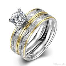 stainless steel wedding ring sets 2017 hot 316l stainless steel cz diamond finger engagement