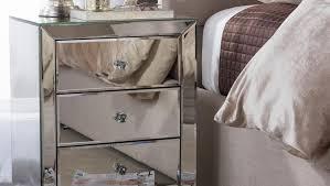 Mirrored Glass Nightstand Drawer Mirrored End Table With Drawer Suitable Mirrored End