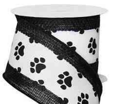 paw print ribbon white with black paw print ribbon with faux burlap edging 2 5 x