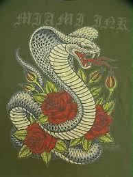 miami ink cobra snake roses mens t shirt large ebay