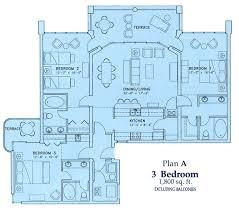 three bedroom condo floor plan of our vacation rentals long beach