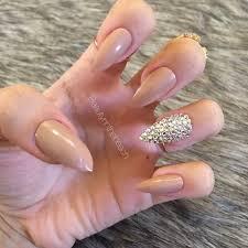 stiletto nails with rhinestones white brown maroon