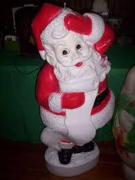 lighted plastic christmas yard decorations huge vintage 2 piece santa claus blow mold chimney light up yard