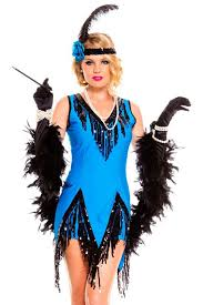 1920s Halloween Costume 2pcs Blue 1920s Flapper Dress Stage Clothes Women