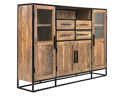 Esszimmer Akazie Hell Highboard 4 Türen Kommode Vitrine Schrank Akazie Holz Hell Möbel