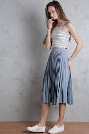 midi skirt pleated midi skirt ash blue the tinsel rack
