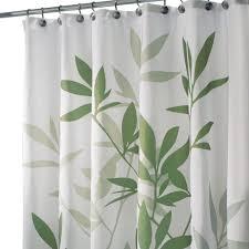Fabric Shower Curtain With Window Bathroom Interdesign Leaves Fabric Shower Curtain Greenwhite