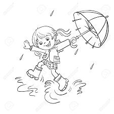 coloring page outline of a cartoon joyful jumping in the