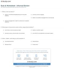quiz u0026 worksheet informal diction study com