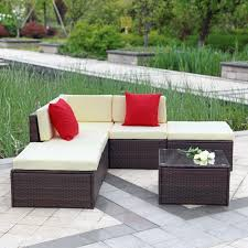 Sectional Sofa Set Brown Ikayaa 6pcs Outdoor Patio Garden Rattan Wicker Sectional