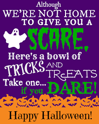 free printable sign with halloween poem for trick or treaters