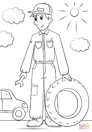 car mechanic coloring page free printable coloring pages