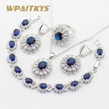 blue crystal necklace pendant images Women silver color jewelry sets flower shape dark blue crystal jpg
