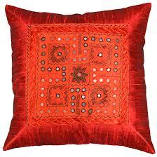 Modern Cushions For Sofas Silk Burgundy Accent Sofa Zardozi Pillow Cover 16 X 16